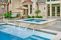 Pool with hot tub designs hot tub waterfall pool built in ideas stone simple pool and . pool with hot tub designs Swimming Pool Pictures, Swimming Pools Backyard, Swimming Pool Designs, Pool Landscaping, Swimming Pool Fountains, Lap Pools, Indoor Pools, Pool Decks, Pool Spa