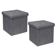 "B FSOBEIIALEO Storage Ottoman Cube, Toy Chest Folding Footrest Stool Seat, Linen Grey 12.6""X12.6""X12.6"" (2 Pack) B FS... Foot Rest, Outdoor Furniture, Outdoor Decor, Cube Toy, Toy Chest, Ottoman, Stool, Storage, Leather"