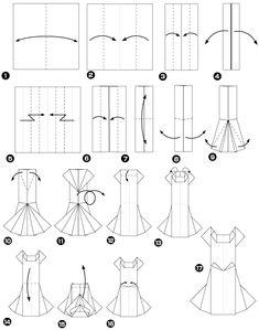 Diagramme d'origami de robe de mariee