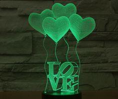 Love Word Heart Shape Balloons 3d Led Lamp