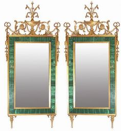 """A Magnificent Pair of 18th Century Russian Louis XVI Malachite and Gilt Wood Pier Mirrors each with neoclassic urns, garlands and sprays - Dim: Height: 70""""; Width: 32""""."""