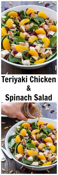 Teriyaki Chicken and Spinach Salad | A fresh Asian inspired salad with a delicious teriyaki dressing!