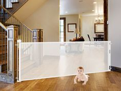 Retract-A-Gate - Retractable Safety Gate, Retractable Baby Gate, or Retractable Pet Gate. An easy to use wide safety gate for indoors or outdoors and certified for use at the top of stairs. Baby Gate For Stairs, Stair Gate, Baby Gates, Dog Gates, Safety Gates For Stairs, Gates For Dogs, Indoor Gates, Diy Dog Gate, Dream Homes