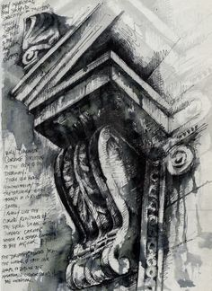 Ian Murphy - Architectural Studies in Sketchbook I like the use of ink and drawing to create this piece and the annotations next to it Architecture Antique, Architecture Sketchbook, Art And Architecture, Architecture Details, Classical Architecture, Architectural Features, Architectural Sketches, Architectural Photography, Illustration