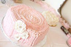 Lila's 1st bday cake. Loved it!  Vintage, shabby chic bday.
