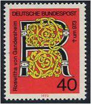 Germany 1973 Roswitha von Gandersheim Stamp.