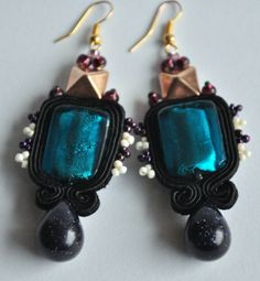 black, gold, wihte, violet, sand, blac sand, green, sea, blue sea, kolczyki wiszące, soutache, sutasz, handmade, not made i china, poland, polish