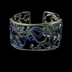 Silver and Blue Bridal Bracelet