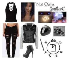 """""""Untitled #1146"""" by jblizz on Polyvore featuring Miss Selfridge, Full Tilt, Grace and Harley-Davidson"""