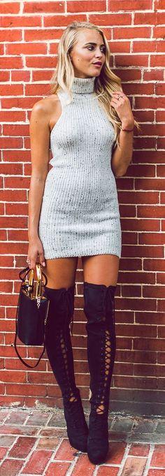 Janni Deler Grey Ribbed Turtleneck Dress Black Lace Up Over The Knee Boots