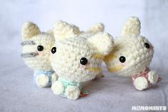 Handmade Mini Amigurumi Crochet Cat Meowchi Keychains