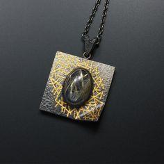 Oval rutilated quartz Keum Boo oxidized silver pendant necklace by (C) KAZNESQ