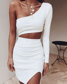 2019 New Summer Women One Shoulder Bandage Dress Celebrity Evening Party Dress Sexy Hollow Out Bodycon Club Dress Vestidos 2019 New Summer Women One Shoulder Bandage Kleid Promi Abend Par - Luxuriöses Leben fürs Leben Club Dresses, Sexy Dresses, Fashion Dresses, Clubbing Dresses, Short Dresses, Vegas Dresses, Party Dresses For Women, Mini Dresses, Wedding Dresses