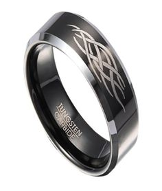 Black Tungsten Ring for Men with Abstract Flame Design | 8mm