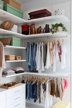 13 Creative Ways To Create a Wardrobe With Low Budget Corner closet in a white room Corner Closet, Tiny Closet, Closet Bedroom, Bedroom Decor, White Closet, Small Closets, Diy Wardrobe, Wardrobe Design, Perfect Wardrobe
