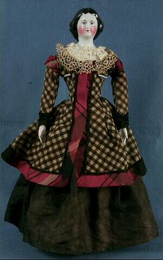 China doll, woman, black and white jacket with red plaid trim, Germany, 1830-1850