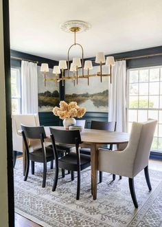 Adding traditional style to a moody navy dining room using scenic antique style landscape paintings on peel and stick mural wallpaper. Classic Dining Room, Antique Paint, Affordable Home Decor, Home Decor Items, Furniture Makeover, Home Projects, Dining Table, Wallpaper, House