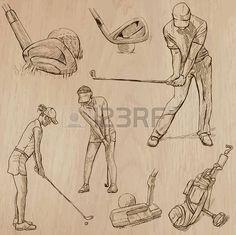 GOLF, golfozók, Golf, Golf és berendezések. Gyűjtemény egy kézzel rajzolt illusztrációk (line art vektor - pack No.5). Minden egyes rajz áll a három vagy négy réteg vonal, háttér elszigetelt. Könnyen szerkeszthető. photo