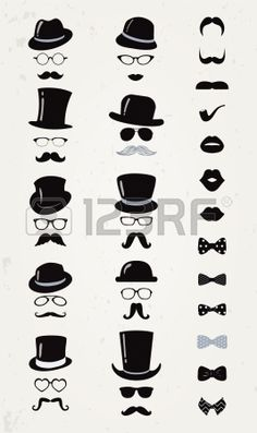 Hipster Retro Vintage Vector Icon Set, Mustache, Lips, Hats, Bow ties and Glasses Collection Stock Vector