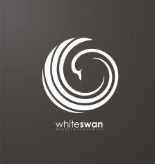 Swan abstract vector logo design vector art illustration