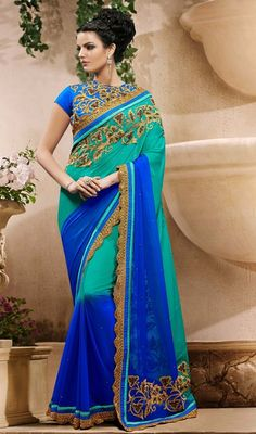 You will be the center of attention in this blue and greenish blue embroidered georgette sari. Look ravishing clad in this saree that is enhanced lace, resham and stones work. #LatestCasualSareeCollection