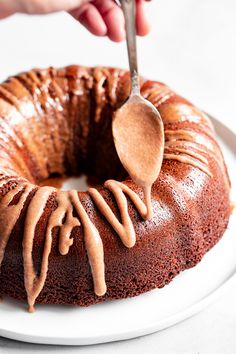 This grain free and paleo Gingerbread Bundt Cake is moist and tender, with a sweet cinnamon maple pecan swirl! Topped with a sweet maple glaze, this gluten-free, dairy-free cake is sure to be a favorite for the holiday season! Paleo Sweets, Paleo Dessert, Dessert Recipes, Pecan Recipes, Healthier Desserts, Maple Pecan, Maple Glaze, Grain Free, Dairy Free