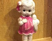 Vintage Bisque Doll, Frozen Charlotte, White Bisque, Little Girl Carrying a Baby Doll, 5 inches tall,  Made in Japan, Circa 1930s