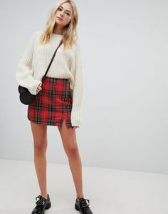 Pimkie tartan mini skirt at ASOS. New Outfits, Casual Outfits, Fashion Outfits, Casual Clothes, Winter Outfits, Asos, Tartan Mini Skirt, Timeless Fashion, Girl Fashion