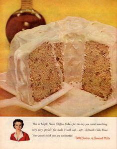Maple-pecan chiffon cake recipe: A classic dessert from 1956 - Click Americana - Buffet Ideen Retro Recipes, Vintage Recipes, Cake Recipes, Dessert Recipes, Pecan Desserts, Pecan Cake, Holiday Desserts, Sweet Recipes, Buckwheat Cake