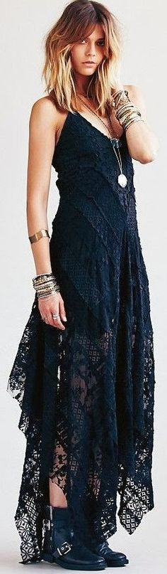Gorgeous sheer lace maxi dress. I really like the dark tones and vibes it gives, a gothic undertone to it.