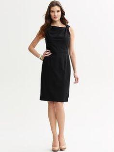 Black lightweight wool pleat-neck dress | Banana Republic