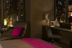 The WOW Suite at at W New York in Times Square offers gorgeous nighttime views of #NYC