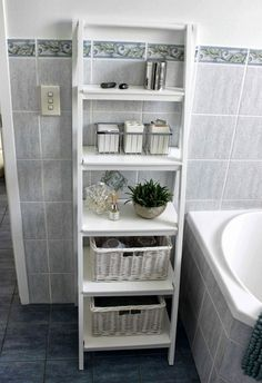 Bathroom, : Engaging Space Saving Small Bathroom Decoration With White Ladder Bathroom Shelf Including Light Charcoal Tile Bathroom Wall And Blue Florida Tile Bathroom Floor