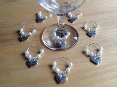 Wine glass charms for top table bridal shower by BeadsofCreation