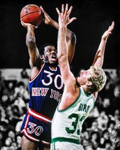 Bernard King of the New York Knicks (a #NBA 2013 HOF inductee) battling Bird. See our full NBA collection at rareink.com @New York Knicks