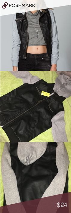 Leather Jacket Hoodie Grey & Black leather jacket/hoodie, never worn, tags still on, got in the mail was too small for me and never got around to returning it. Size is Medium, which I usually am but this was way too small..fits more like a XS. Contact me with any questions !! Full Tilt Jackets & Coats