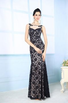 Floor Length Black Lace Beaded Prom Gown Evening Dresses