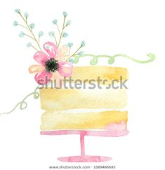 Find Watercolor Cake Pink Flowers Green Leaves stock images in HD and millions of other royalty-free stock photos, illustrations and vectors in the Shutterstock collection. Thousands of new, high-quality pictures added every day. Watercolor Birthday Cards, Birthday Card Drawing, Watercolor Cake, Easy Watercolor, Watercolor Illustration, Watercolor Flowers, Tattoo Watercolor, Watercolor Animals, Watercolor Background