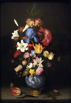 Large Bouquet in Gilt-Mounted Wan-Li Vase Norton Simon, Dutch Golden Age, Flower Vases, Flowers, Different Seasons, Flower Stands, Dark Backgrounds, Art Google, Still Life