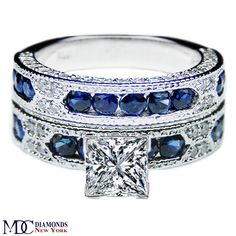 Engagement Ring - Princess Cut Diamond Vintage Engagement Ring Blue-Sapphire Accents & Matching Wedding Band - ES739PRBS