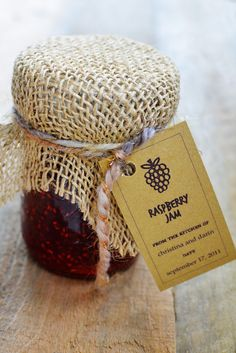raspberry-jam-recipe-web    I could make these for the wedding if I got asked THIS WEEK while raspberries are cheap. Instead of burlap we could use elegant fabric and ribbon