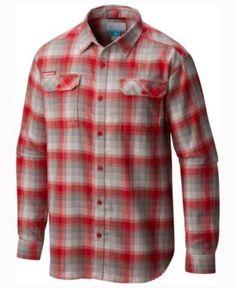 Columbia Men's Nebraska Cornhuskers Flare Gun Long Sleeve Flannel Button Up Shirt - Red XXL