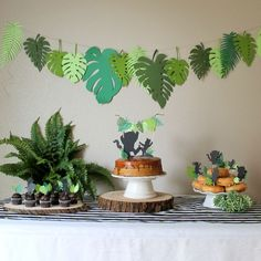 This leaf banner includes 13 variety of large leaves in multiple shades of greens. Leaves are strung on 9 feet of hemp string ready to hang. Purchase the matching cake topper in this same shop under a different listing. Jungle Theme Birthday, Wild One Birthday Party, Dinosaur Birthday Party, Boy First Birthday, Boy Birthday Parties, Birthday Cake, Safari Party, Jungle Party, Festa Party