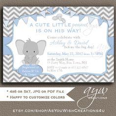 Elephant Baby Shower Invitation Little Peanut Baby Shower