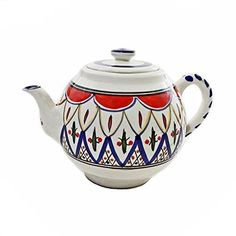 Le Souk Tabarka Teapot 24 oz. Ceramic Hand-Painted in Tunisia. The Tabarka design, hand-painted teapot features a unique pattern for a traditional look. This teapot will make a beautiful presentation and add a dash of global flair to your table when it's filled with your favorite tea. | eBay!