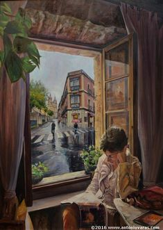 EN LA VENTANA (In The Window) - Antonio Varas de la Rosa - I'm not sure where that flatiron is other than most likely somewhere in Spain. Window View, Window Art, Village Photography, Looking Out The Window, Favorite Pastime, Watercolor And Ink, Pencil Drawings, Book Lovers, Book Art