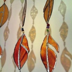 Stained glass large leaves window hanging by Amy Orange Juice £20.00