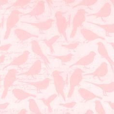Simply Silky Prints- Bird Notes Pink Chiffon