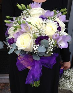 Cream and Purple Rose Freesia and Lissanthus Brides Bouquet - Side.jpg (600×759)