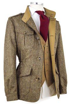Sahariana Donegal #Menssuits Tweed Stoff, British Style Men, British Style Outfits, Tweed Suits, Tweed Blazer Men, Blazer Suit, Mens Suits, Mantel Jacke, Sport Coat